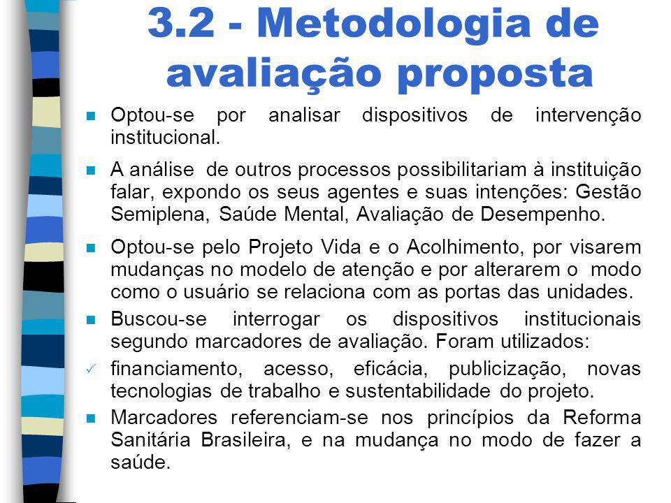 3.2 - Metodologia de avaliação proposta n Optou-se por analisar dispositivos de intervenção institucional. n A análise de outros processos possibilita