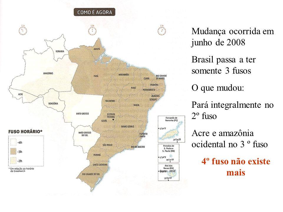 Mudança ocorrida em junho de 2008 Brasil passa a ter somente 3 fusos O que mudou: Pará integralmente no 2º fuso Acre e amazônia ocidental no 3 º fuso
