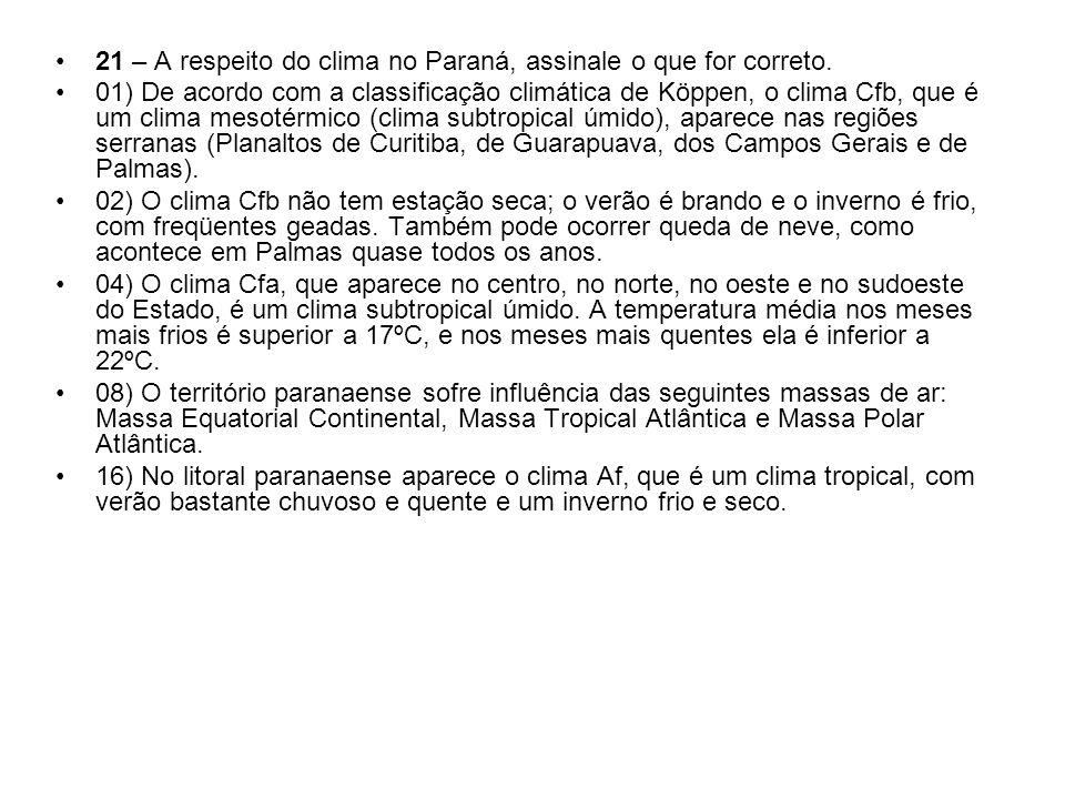 21 – A respeito do clima no Paraná, assinale o que for correto. 01) De acordo com a classificação climática de Köppen, o clima Cfb, que é um clima mes