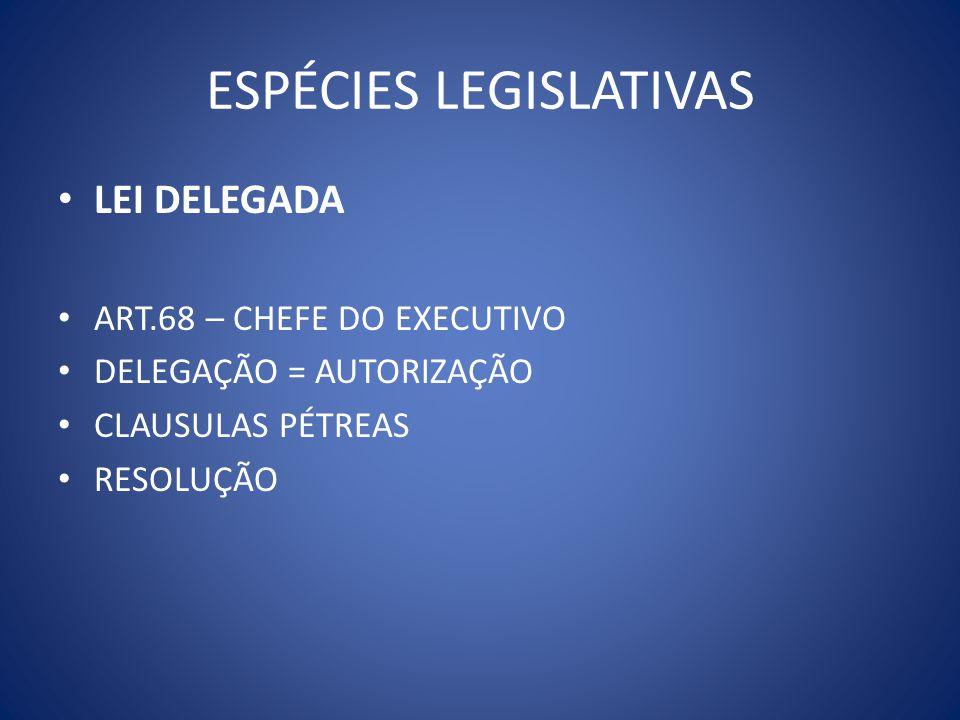 ESPÉCIES LEGISLATIVAS LEI DELEGADA ART.68 – CHEFE DO EXECUTIVO DELEGAÇÃO = AUTORIZAÇÃO CLAUSULAS PÉTREAS RESOLUÇÃO