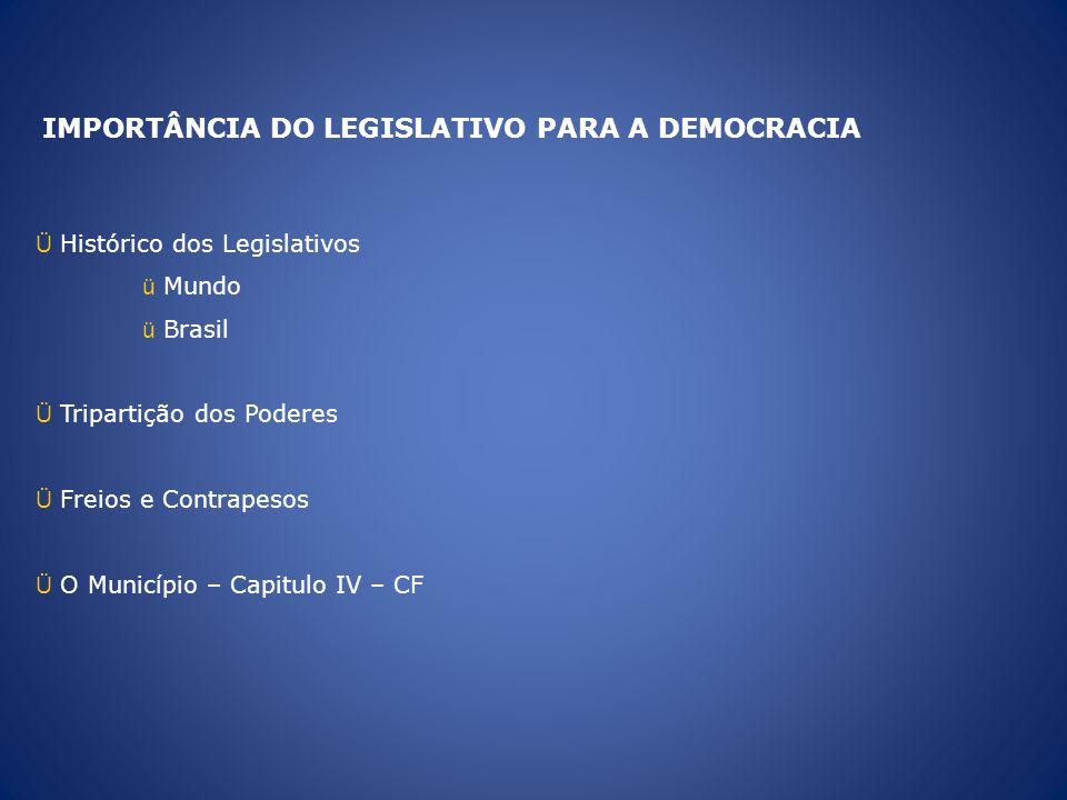 IMPORTÂNCIA DO LEGISLATIVO PARA A DEMOCRACIA Ü Histórico dos Legislativos ü Mundo ü Brasil Ü Tripartição dos Poderes Ü Freios e Contrapesos Ü O Municí