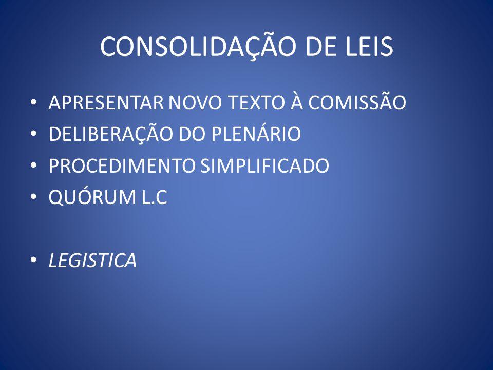 CONSOLIDAÇÃO DE LEIS APRESENTAR NOVO TEXTO À COMISSÃO DELIBERAÇÃO DO PLENÁRIO PROCEDIMENTO SIMPLIFICADO QUÓRUM L.C LEGISTICA