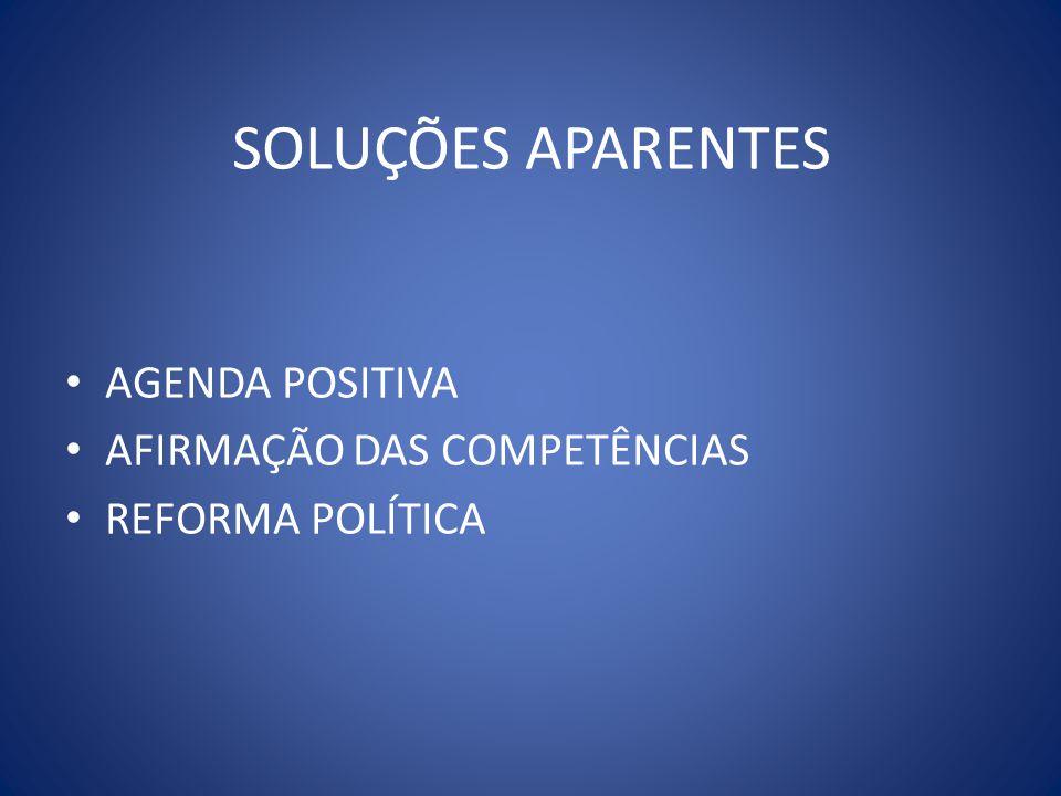 SOLUÇÕES APARENTES AGENDA POSITIVA AFIRMAÇÃO DAS COMPETÊNCIAS REFORMA POLÍTICA