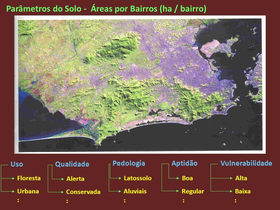 Parâmetros do Solo - Áreas por Bairros (ha / bairro) Qualidade Aptidão Uso PedologiaVulnerabilidade Floresta Urbana Alerta Conservada Latossolo Aluvia
