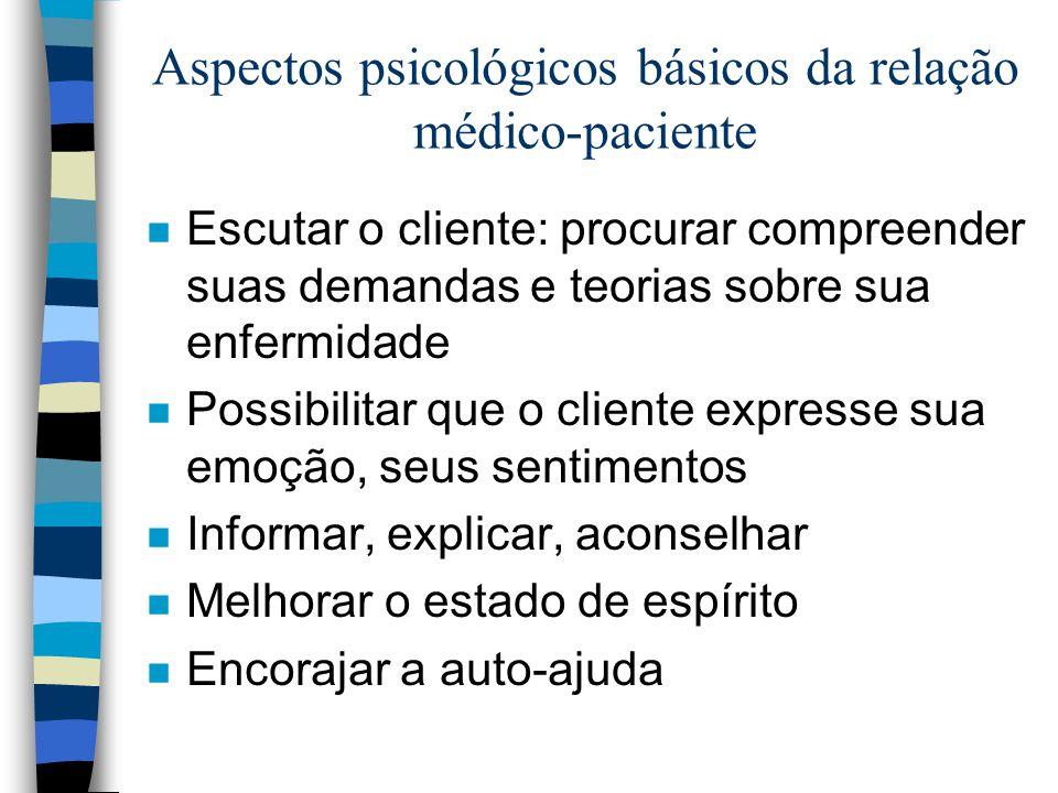 Aspectos psicológicos básicos da relação médico-paciente n Escutar o cliente: procurar compreender suas demandas e teorias sobre sua enfermidade n Pos