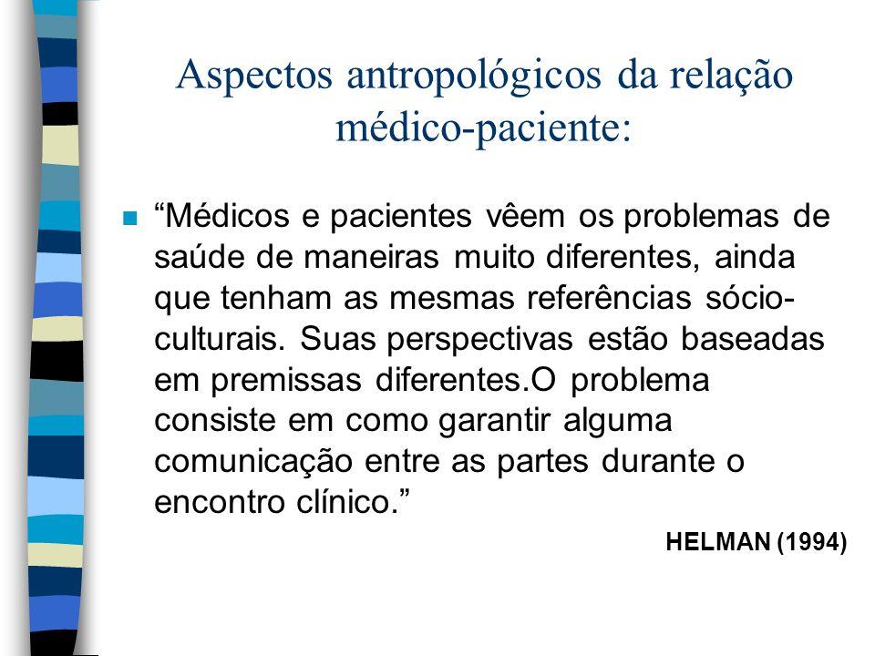 Aspectos antropológicos da relação médico-paciente: n Médicos e pacientes vêem os problemas de saúde de maneiras muito diferentes, ainda que tenham as mesmas referências sócio- culturais.