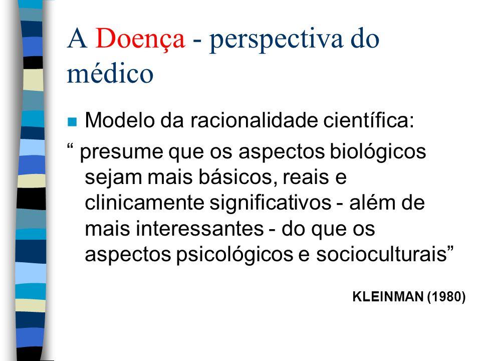 A Doença - perspectiva do médico n Modelo da racionalidade científica: presume que os aspectos biológicos sejam mais básicos, reais e clinicamente significativos - além de mais interessantes - do que os aspectos psicológicos e socioculturais KLEINMAN (1980)