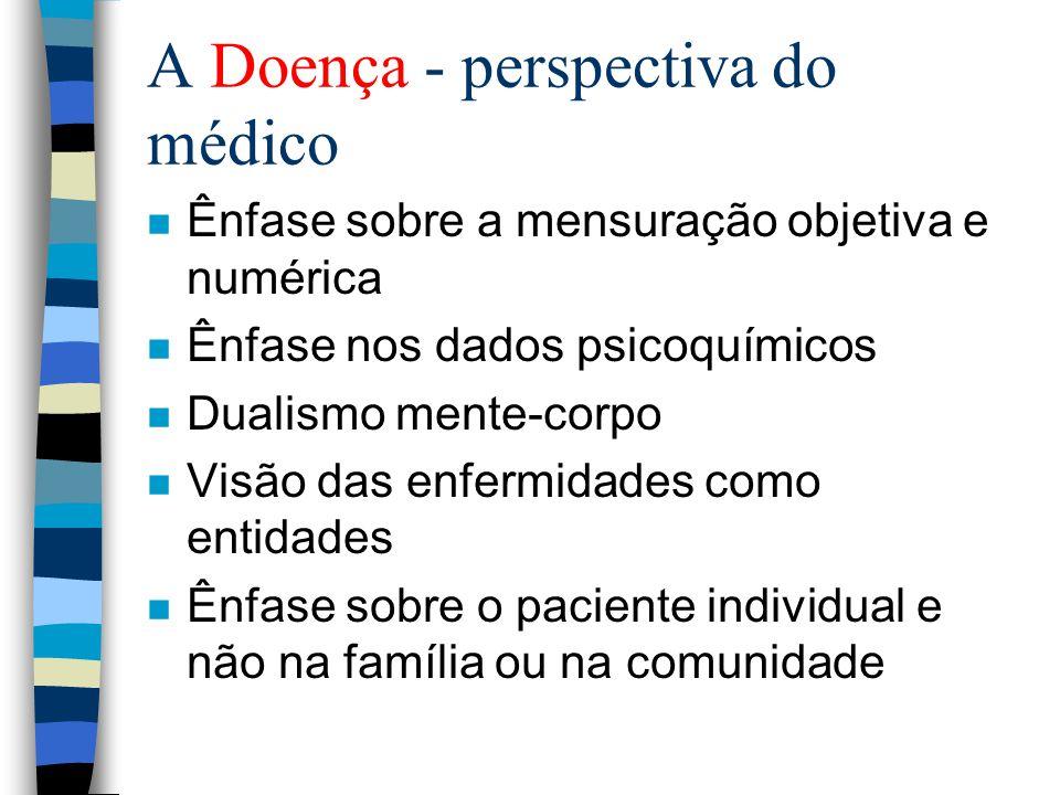 A Doença - perspectiva do médico n Ênfase sobre a mensuração objetiva e numérica n Ênfase nos dados psicoquímicos n Dualismo mente-corpo n Visão das enfermidades como entidades n Ênfase sobre o paciente individual e não na família ou na comunidade