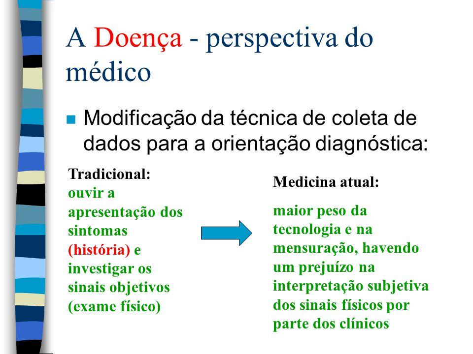 A Doença - perspectiva do médico n Modificação da técnica de coleta de dados para a orientação diagnóstica: Tradicional: ouvir a apresentação dos sint