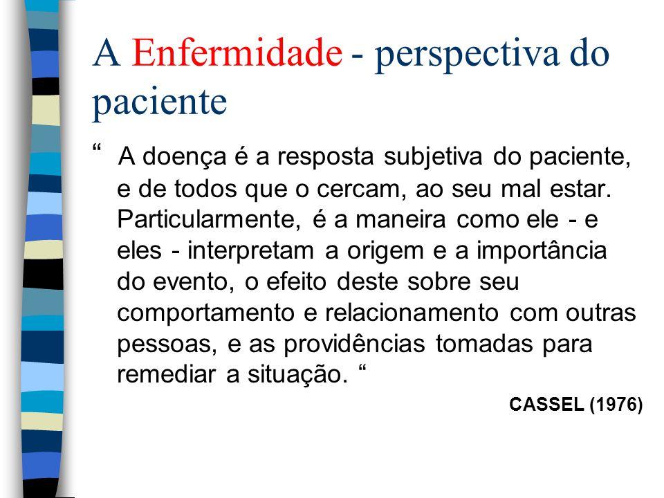 A Enfermidade - perspectiva do paciente A doença é a resposta subjetiva do paciente, e de todos que o cercam, ao seu mal estar. Particularmente, é a m