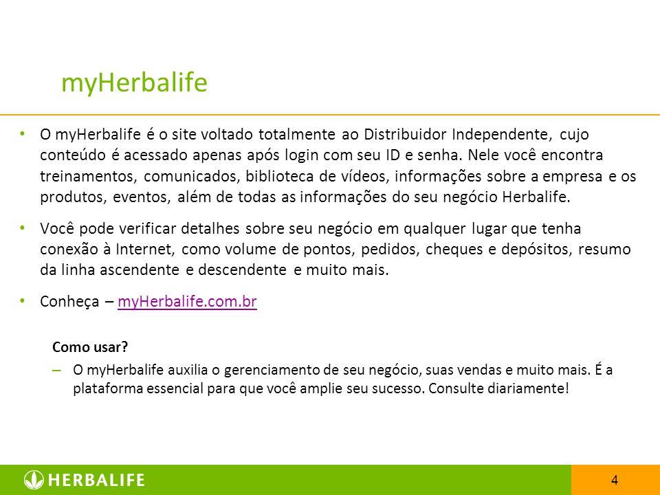 4 myHerbalife O myHerbalife é o site voltado totalmente ao Distribuidor Independente, cujo conteúdo é acessado apenas após login com seu ID e senha. N