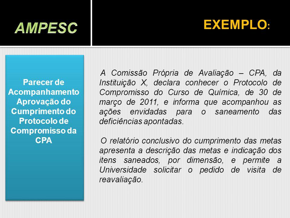 A Comissão Própria de Avaliação – CPA, da Instituição X, declara conhecer o Protocolo de Compromisso do Curso de Química, de 30 de março de 2011, e in
