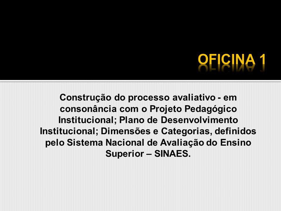 Construção do processo avaliativo - em consonância com o Projeto Pedagógico Institucional; Plano de Desenvolvimento Institucional; Dimensões e Categor