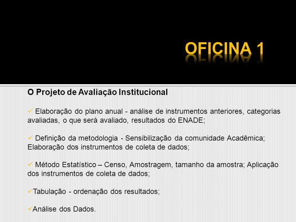 O Projeto de Avaliação Institucional Elaboração do plano anual - análise de instrumentos anteriores, categorias avaliadas, o que será avaliado, result