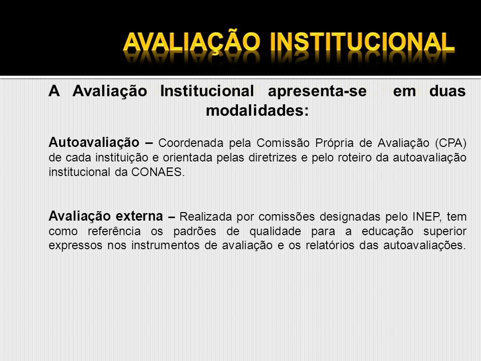 A Avaliação Institucional apresenta-se em duas modalidades: Autoavaliação – Coordenada pela Comissão Própria de Avaliação (CPA) de cada instituição e