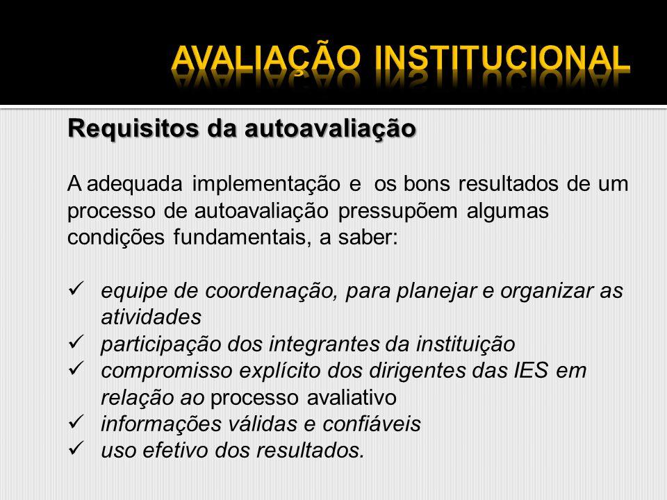 Requisitos da autoavaliação A adequada implementação e os bons resultados de um processo de autoavaliação pressupõem algumas condições fundamentais, a