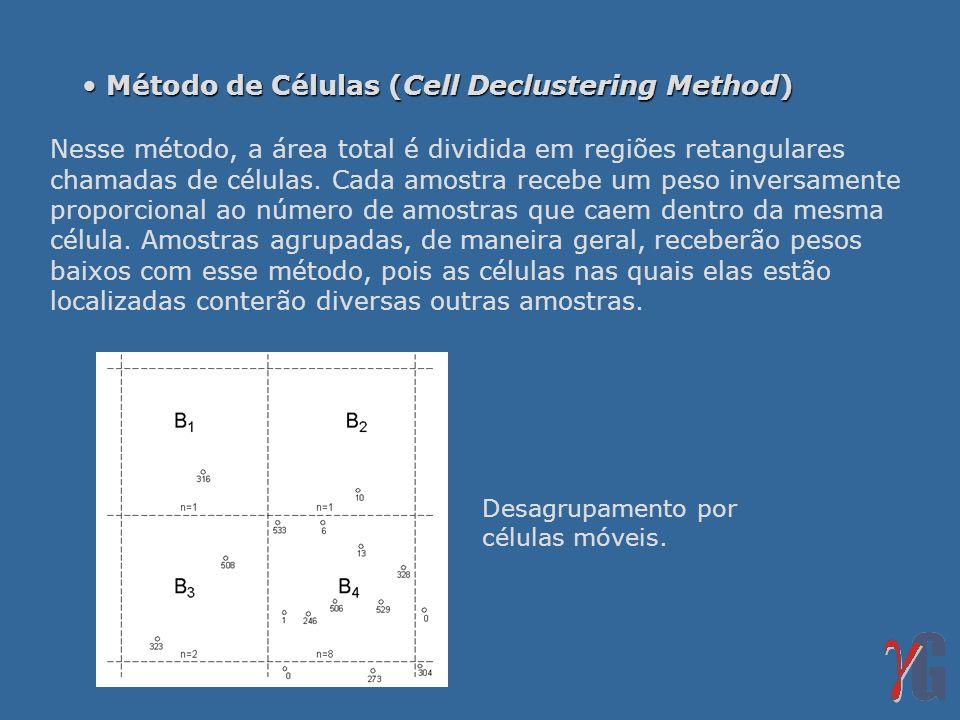 Método de Células (Cell Declustering Method) Método de Células (Cell Declustering Method) Nesse método, a área total é dividida em regiões retangulares chamadas de células.