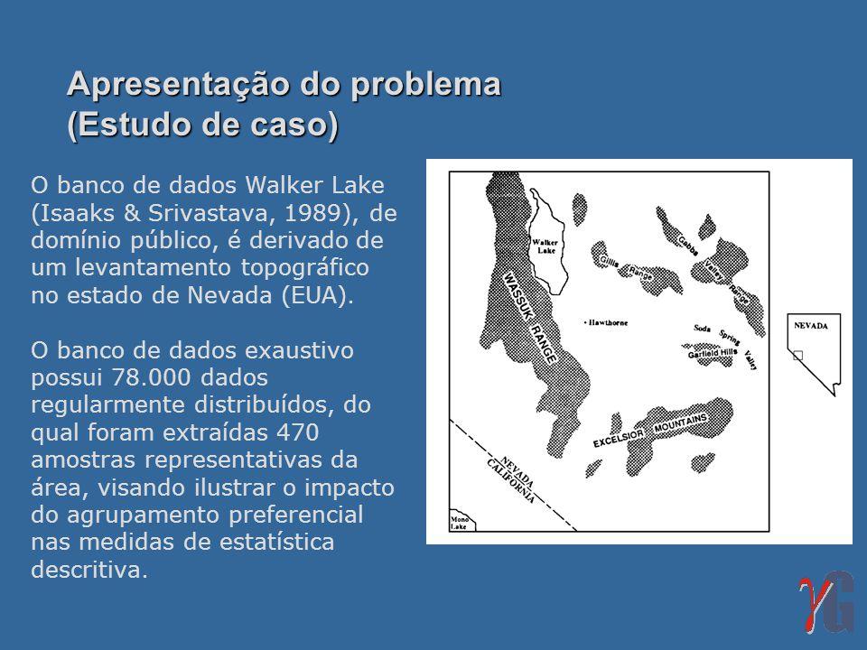 Apresentação do problema (Estudo de caso) O banco de dados Walker Lake (Isaaks & Srivastava, 1989), de domínio público, é derivado de um levantamento topográfico no estado de Nevada (EUA).