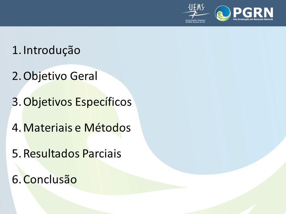 1.Introdução 2.Objetivo Geral 3.Objetivos Específicos 4.Materiais e Métodos 5.Resultados Parciais 6.Conclusão