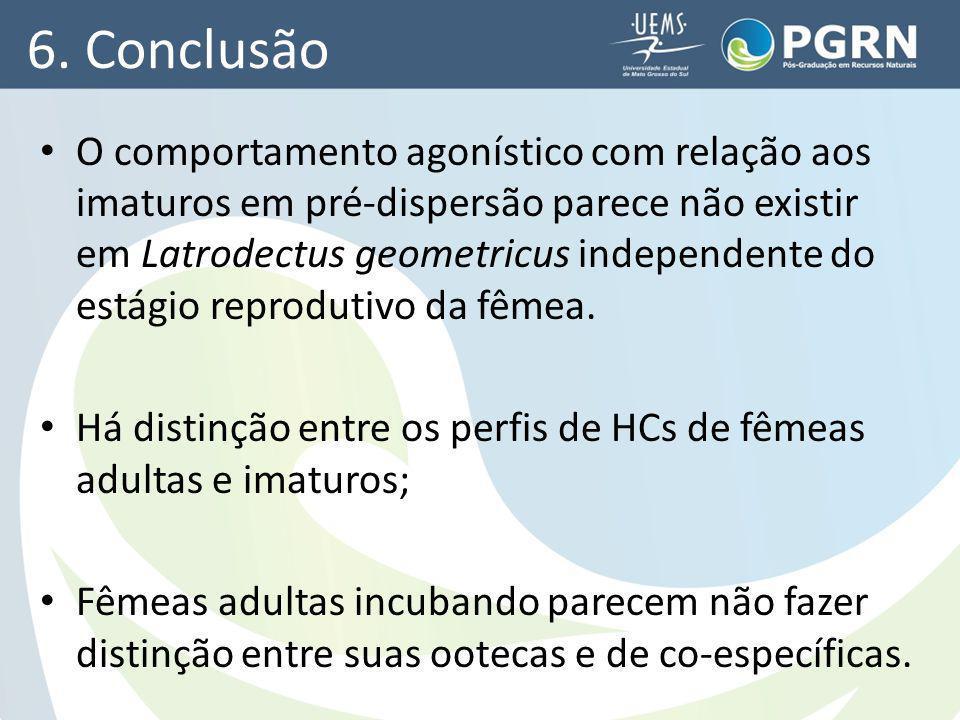 6. Conclusão O comportamento agonístico com relação aos imaturos em pré-dispersão parece não existir em Latrodectus geometricus independente do estági