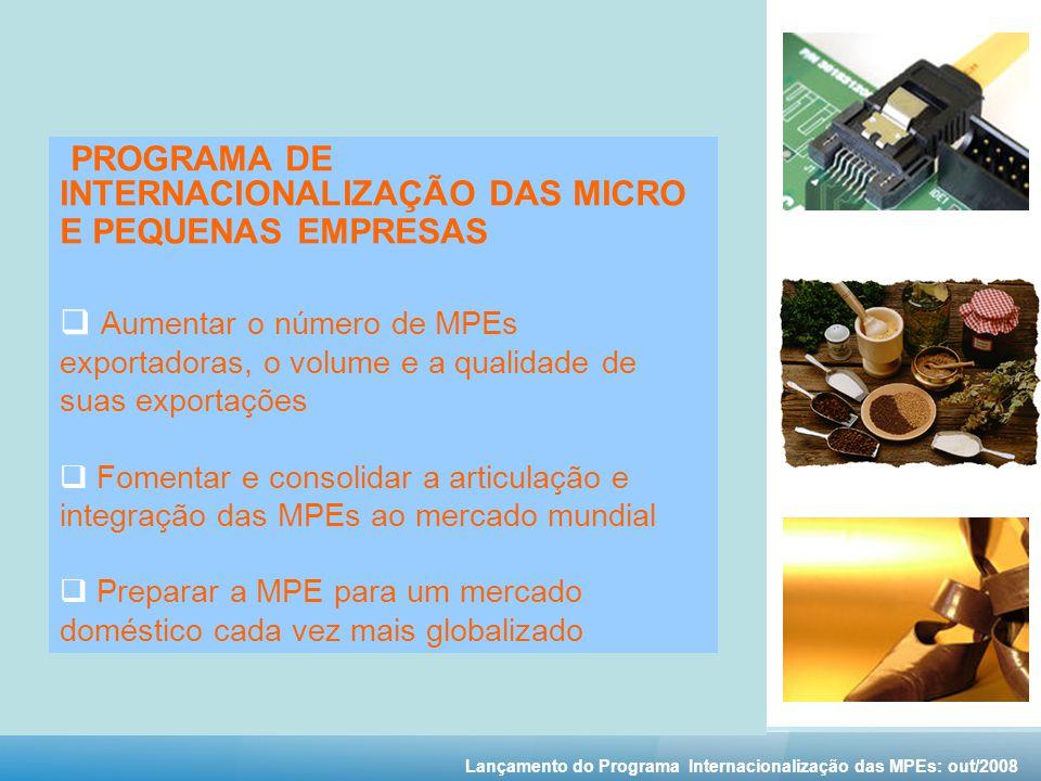 PROGRAMA DE INTERNACIONALIZAÇÃO DAS MICRO E PEQUENAS EMPRESAS Aumentar o número de MPEs exportadoras, o volume e a qualidade de suas exportações Fomentar e consolidar a articulação e integração das MPEs ao mercado mundial Preparar a MPE para um mercado doméstico cada vez mais globalizado Lançamento do Programa Internacionalização das MPEs: out/2008