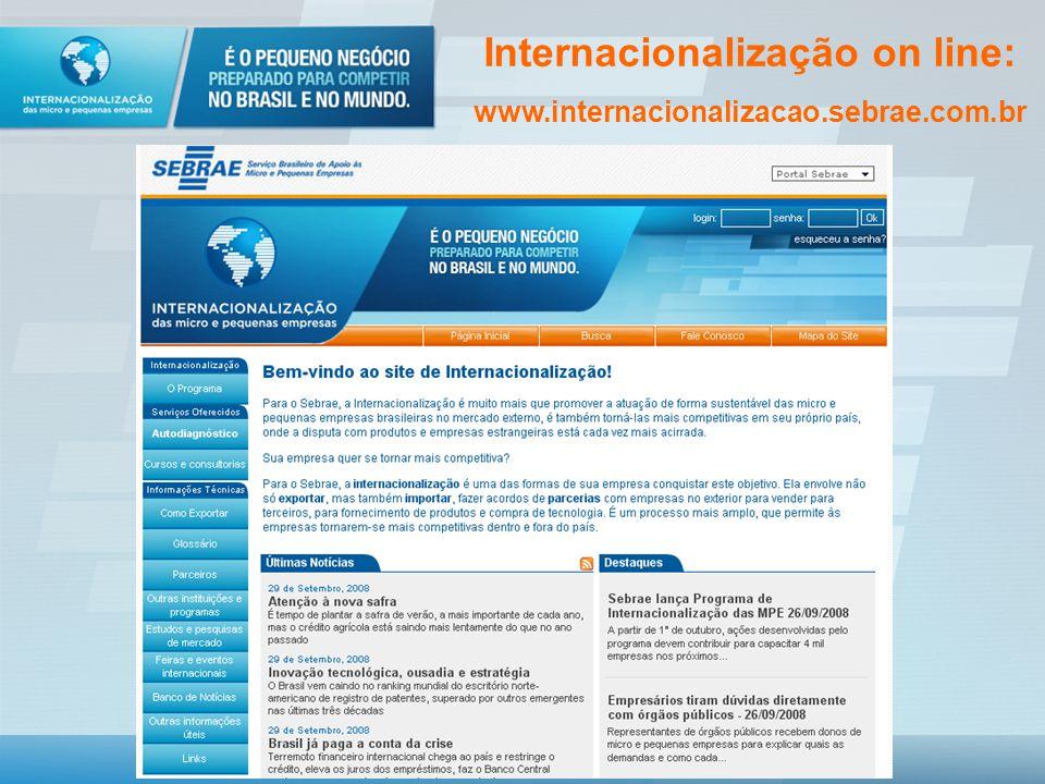 Internacionalização on line: www.internacionalizacao.sebrae.com.br