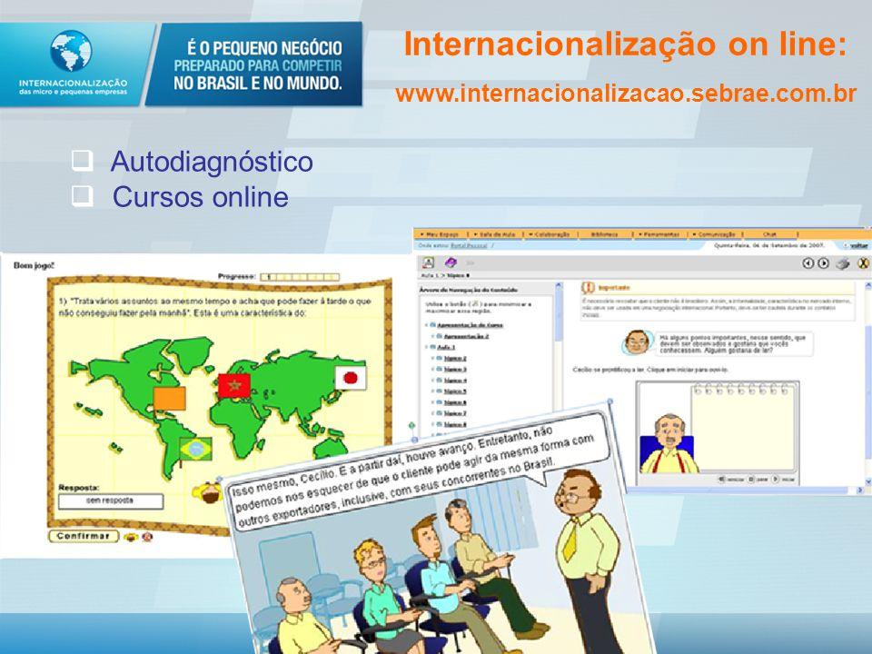 Autodiagnóstico Cursos online Internacionalização on line: www.internacionalizacao.sebrae.com.br
