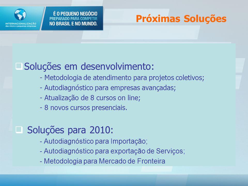 Próximas Soluções Soluções em desenvolvimento: - Metodologia de atendimento para projetos coletivos; - Autodiagnóstico para empresas avançadas; - Atualização de 8 cursos on line; - 8 novos cursos presenciais.