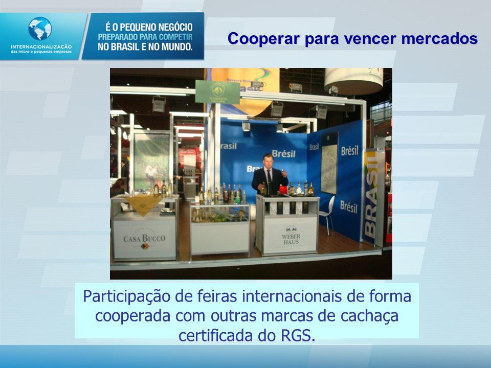 Participação de feiras internacionais de forma cooperada com outras marcas de cachaça certificada do RGS.