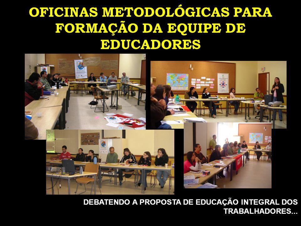 OFICINAS METODOLÓGICAS PARA FORMAÇÃO DA EQUIPE DE EDUCADORES DEBATENDO A PROPOSTA DE EDUCAÇÃO INTEGRAL DOS TRABALHADORES...