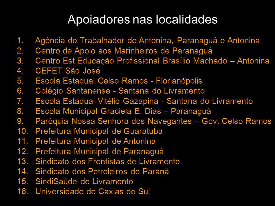 Apoiadores nas localidades 1.Agência do Trabalhador de Antonina, Paranaguá e Antonina 2.Centro de Apoio aos Marinheiros de Paranaguá 3.Centro Est.Educ