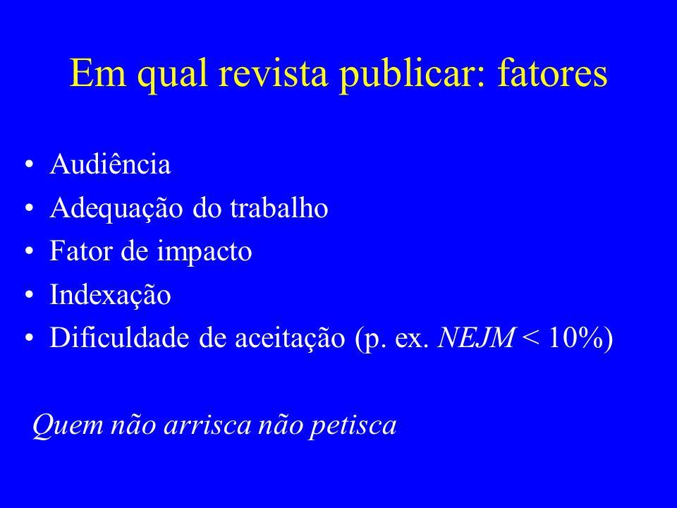 Em qual revista publicar: fatores Audiência Adequação do trabalho Fator de impacto Indexação Dificuldade de aceitação (p. ex. NEJM < 10%) Quem não arr