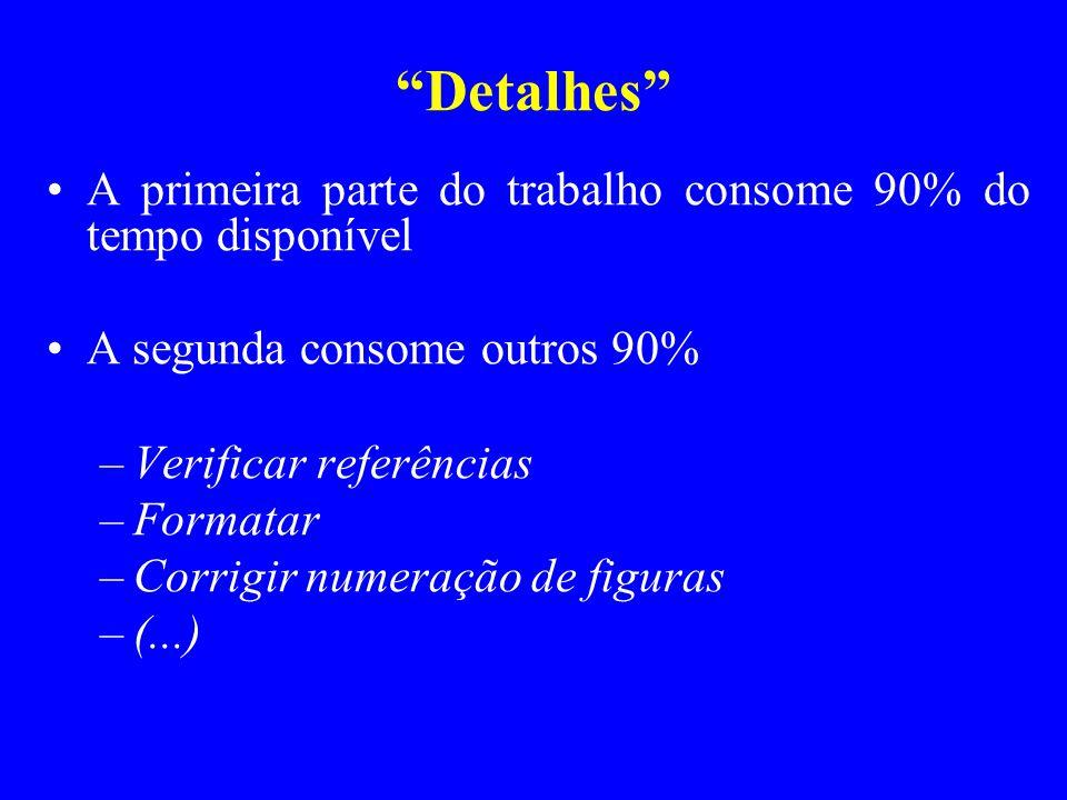 Preparando diapositivos Diapositivos: não são texto, são roteiro Não devem ser lidos como um livro Devem ser sintéticos Duração média: aprox.
