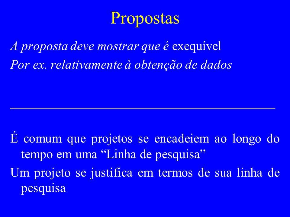 Propostas A proposta deve mostrar que é exequível Por ex. relativamente à obtenção de dados _________________________________________ É comum que proj