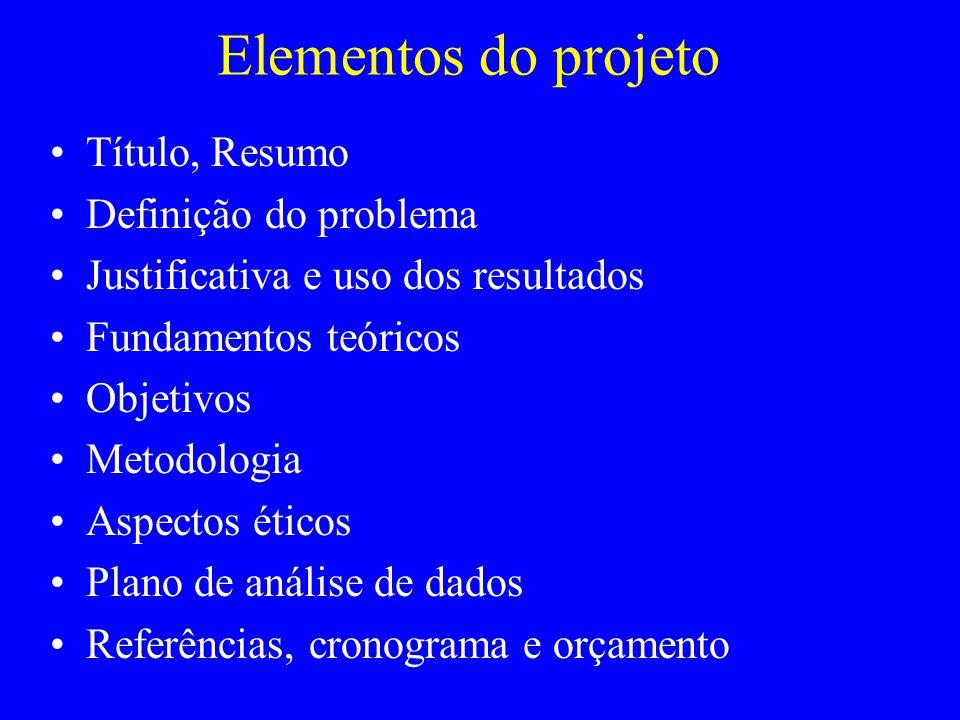 Elementos do projeto Tí tulo, Resumo Defini ção do problema Justificativa e uso dos resultados Fundamentos te ó ricos Objetivos Metodologia Aspectos é