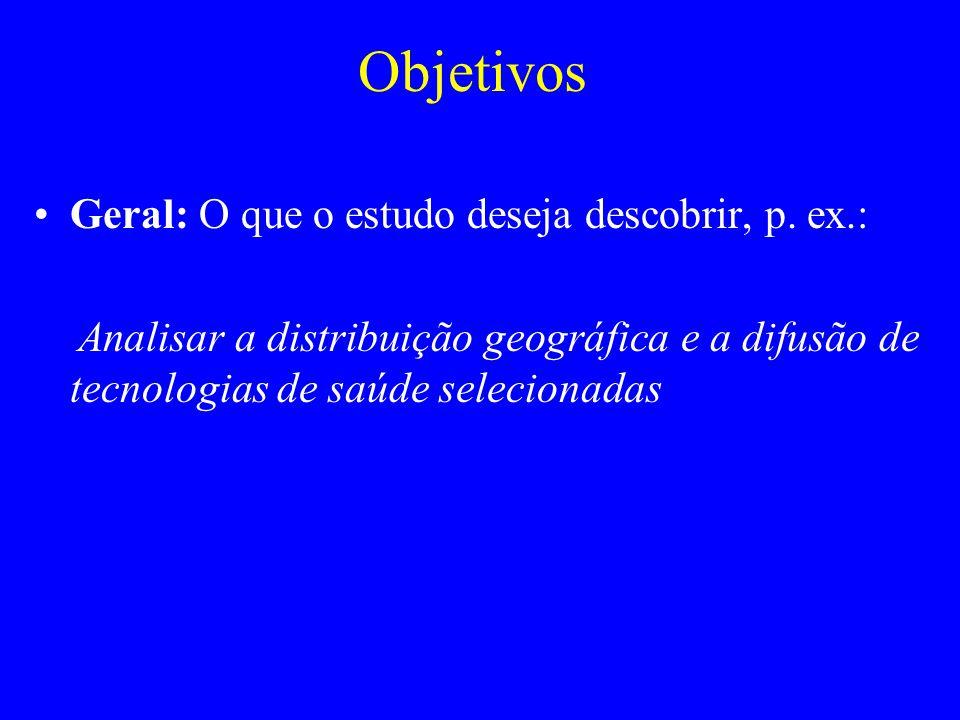 Objetivos Geral: O que o estudo deseja descobrir, p. ex.: Analisar a distribuição geográfica e a difusão de tecnologias de saúde selecionadas