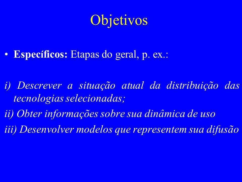 Objetivos Espec í ficos: Etapas do geral, p. ex.: i) Descrever a situação atual da distribuição das tecnologias selecionadas; ii) Obter informações so
