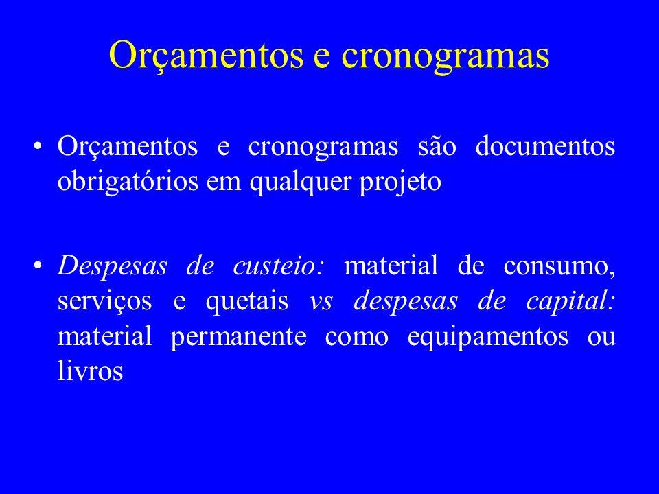 Orçamentos e cronogramas Orçamentos e cronogramas são documentos obrigatórios em qualquer projeto Despesas de custeio: material de consumo, serviços e