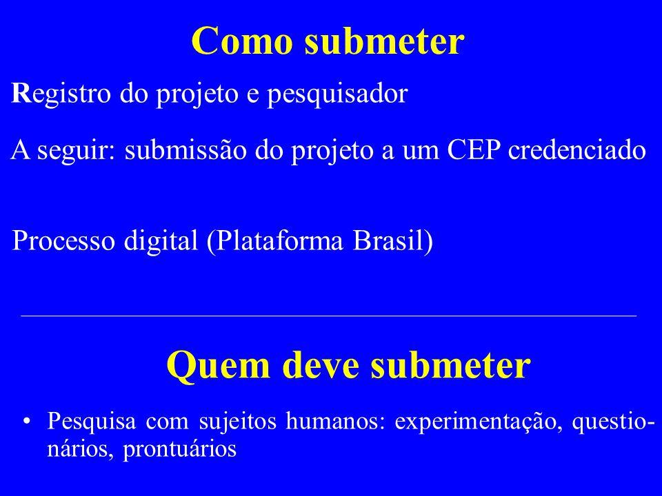 Como submeter Registro do projeto e pesquisador Processo digital (Plataforma Brasil) A seguir: submissão do projeto a um CEP credenciado Pesquisa com