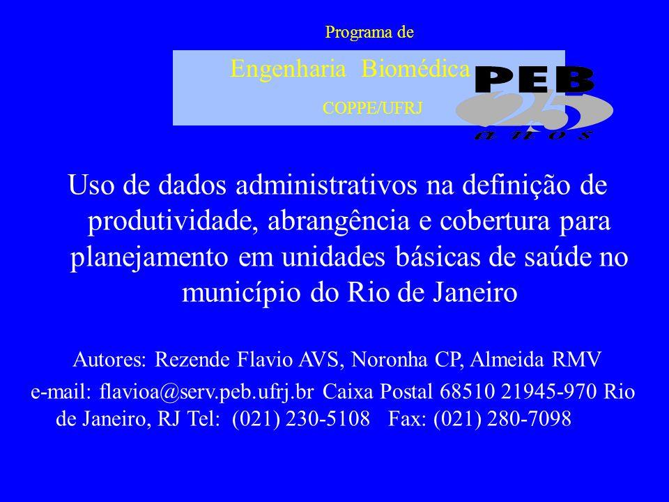 Programa de Engenharia Biomédica COPPE/UFRJ Uso de dados administrativos na definição de produtividade, abrangência e cobertura para planejamento em u