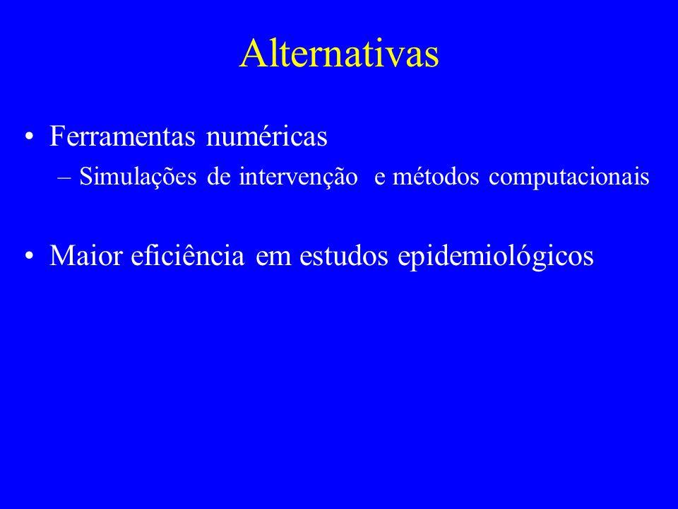 Alternativas Ferramentas numéricas –Simulações de intervenção e métodos computacionais Maior eficiência em estudos epidemiológicos