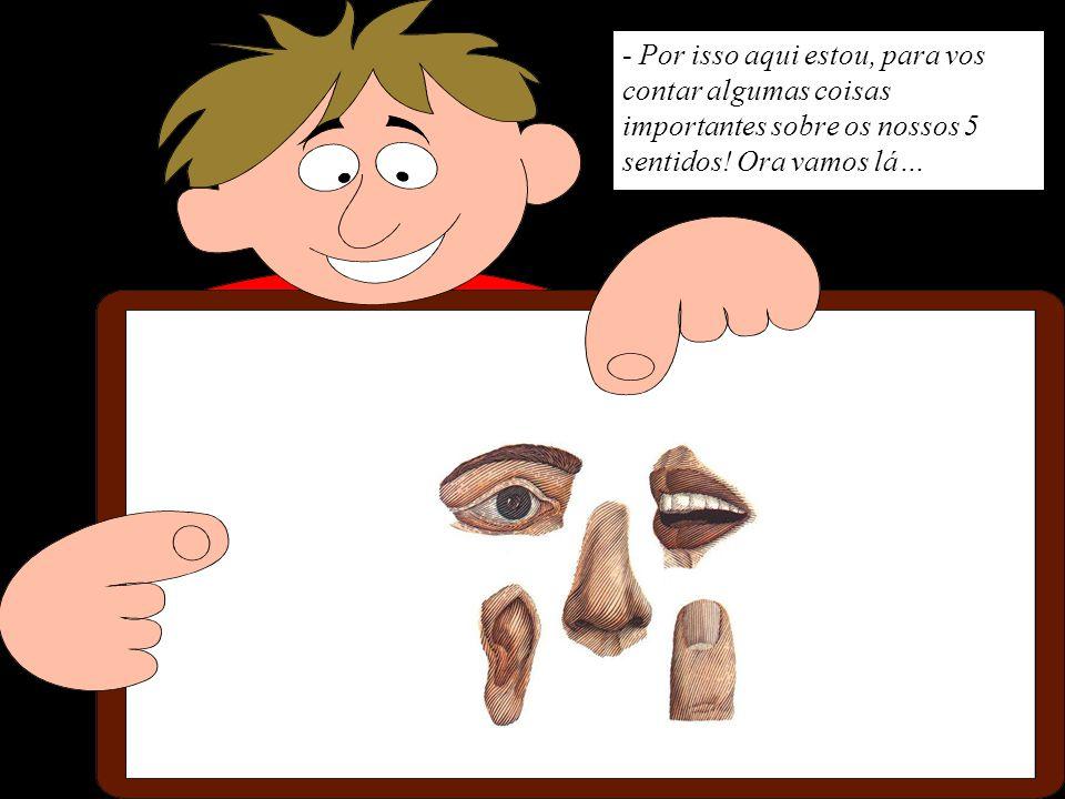 - Primeiro a VISÃO que é o sentido que nos ajuda a saber a forma, a cor e o tamanho das coisas… Os órgãos da visão são os nossos olhos.