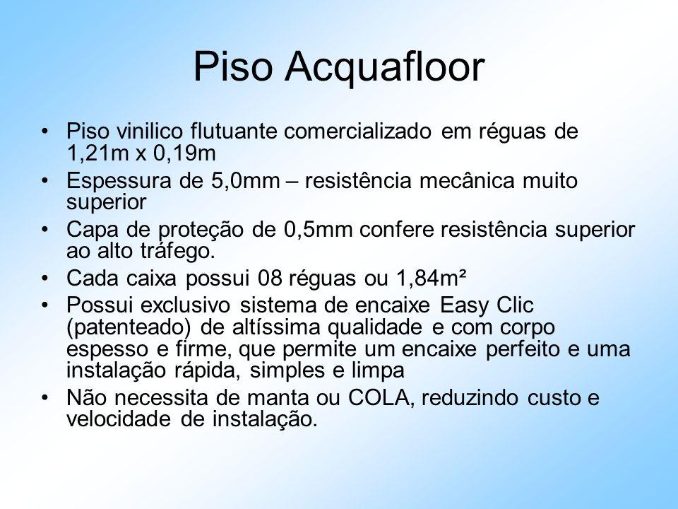Piso Acquafloor Piso vinilico flutuante comercializado em réguas de 1,21m x 0,19m Espessura de 5,0mm – resistência mecânica muito superior Capa de pro