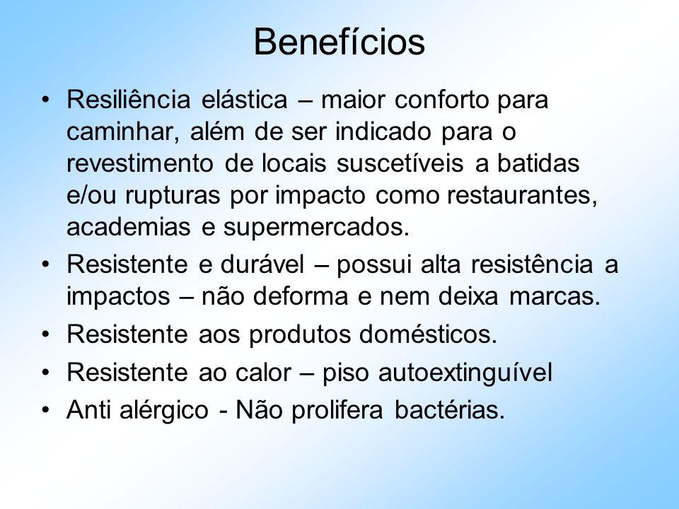 Benefícios Resiliência elástica – maior conforto para caminhar, além de ser indicado para o revestimento de locais suscetíveis a batidas e/ou rupturas