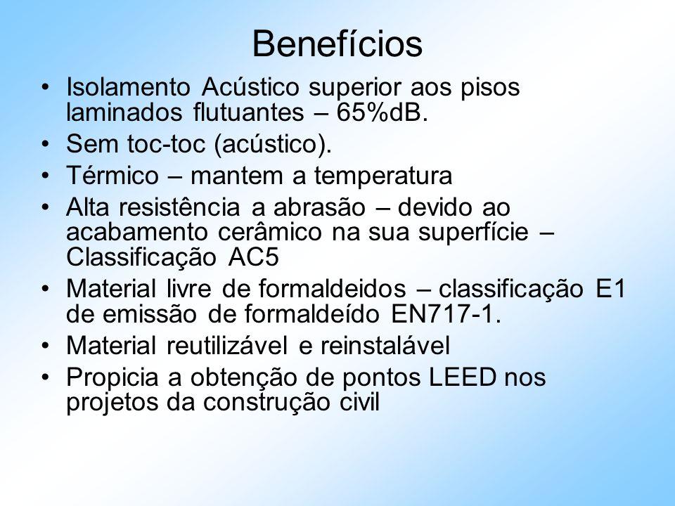 Benefícios Isolamento Acústico superior aos pisos laminados flutuantes – 65%dB. Sem toc-toc (acústico). Térmico – mantem a temperatura Alta resistênci