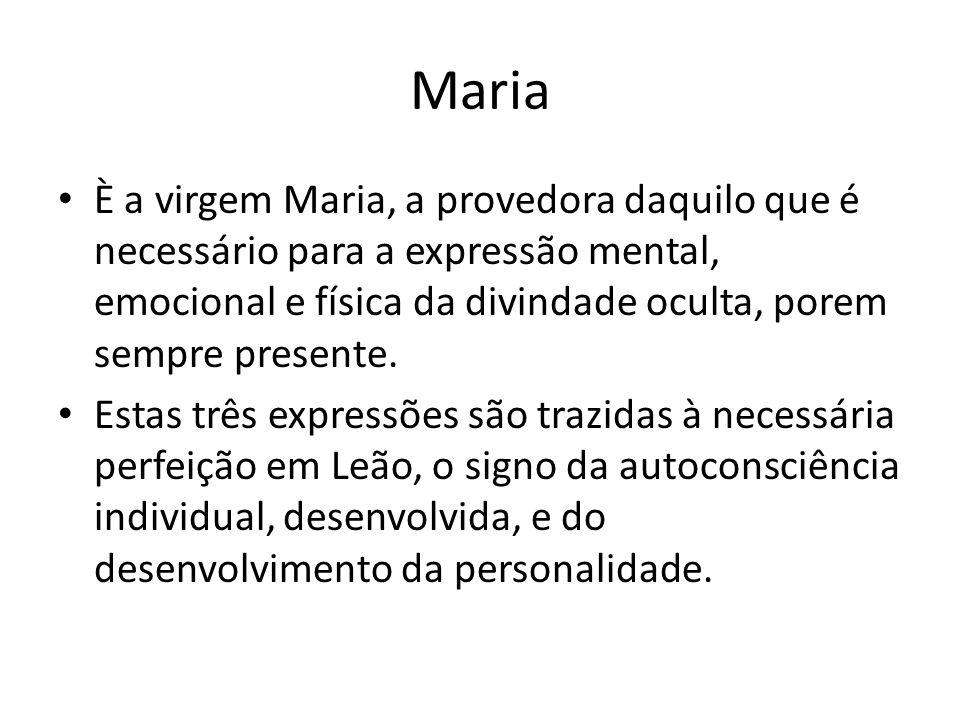 Maria È a virgem Maria, a provedora daquilo que é necessário para a expressão mental, emocional e física da divindade oculta, porem sempre presente. E