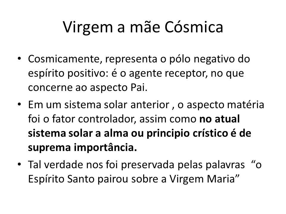 Virgem a mãe Cósmica Cosmicamente, representa o pólo negativo do espírito positivo: é o agente receptor, no que concerne ao aspecto Pai. Em um sistema