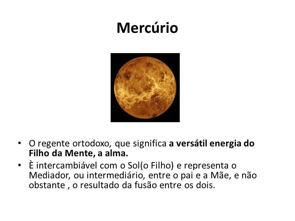 Mercúrio O regente ortodoxo, que significa a versátil energia do Filho da Mente, a alma. È intercambiável com o Sol(o Filho) e representa o Mediador,