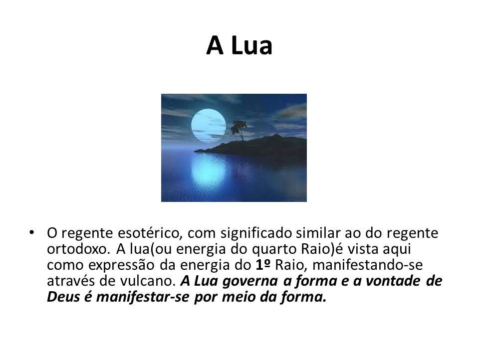 A Lua O regente esotérico, com significado similar ao do regente ortodoxo. A lua(ou energia do quarto Raio)é vista aqui como expressão da energia do 1