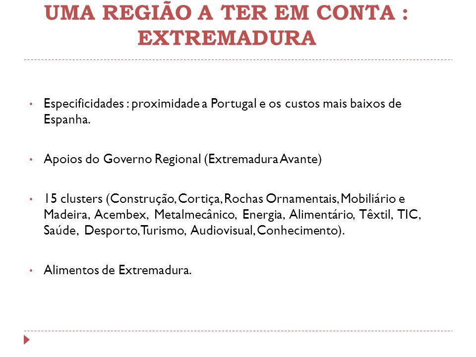 UMA REGIÃO A TER EM CONTA : EXTREMADURA Especificidades : proximidade a Portugal e os custos mais baixos de Espanha. Apoios do Governo Regional (Extre